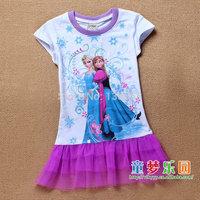 Girl Clothes Frozen Dress Elsa Anna 2014 New Children's Clothing 100% Cotton Summer New Baby Kids Girl Dresses Free Shipping 145