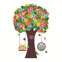 New wall stickers for kids rooms wallpapers home decoration tree owl PVC Bedroom living room DIY cartoon child wall sticker