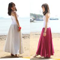 Free Shipping 2014 Fashion Women Summer Spring New Linen Cotton Long Maxi Skirt Plus Size Red Skirt Bohemian Beach Ladies Skirts