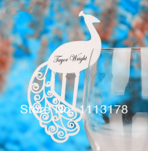 Free shipping 18 colors Cheap Peacock Wine Glass markers Wedding Party Decorations Cake Toppers birthday baby shower(China (Mainland))