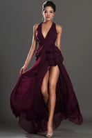 Fashion 2014 claret-red sexy long design silk chiffon formal evening dress