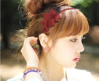 Quality Retail 12pcs/lot DIY Bowknot Hair Band Black/DARK Blue/Green/Red/Pink/Orange Multilayer Pteris Headband hair Accessory