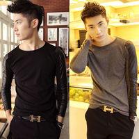 Men Fancy Leather Splice Slim Fit Designer Long Sleeve T shirt O-Neck Cotton Tee For men