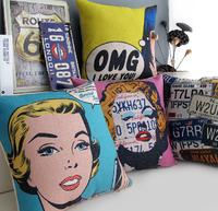 #766  Creative carton American bop art  bedding sofa cushion cover pillow case free shipping  wholesale