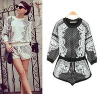 2015 fashion vintage baroque pattern print half sleeve women's loose t shirt shorts casual sports set free shipping