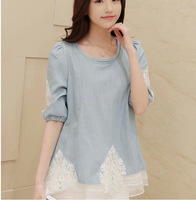 Free shipping!New  Set auger lace holiday two  Blouse Short-sleeved denim shirt