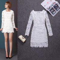 Fashion 2014 spring white beading lace long-sleeve dress