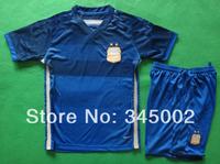 ^_^ 2014 World Cup Argentina away Dark blue kids/boy soccer jerseys(shirts+shorts) , Messi kids uniform Embroidery logo