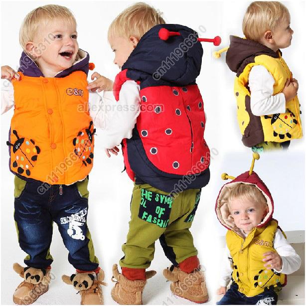 Cute Ladybug Animal Baby Kid Toddler Infant Child Boy Girl Waistcoat Vest Jacket Outfit Outwear Hooded Coat Cloth Costume Suit(China (Mainland))