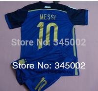 ^_^ 2014 World Cup Argentina away blank kids/boy soccer jerseys(shirts+shorts) ,#10 Messi kids uniform Embroidery logo