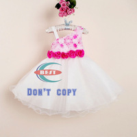 Free Shipping !Wholesale 2014 Floral Summer New Kids Wedding Party Dress,3-8Y Bow Princess Dress,Kids Lace Noble Fairy Dress