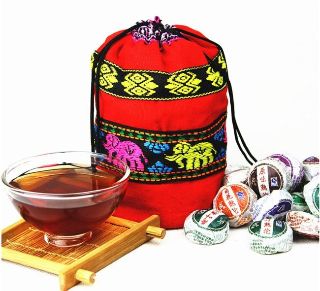 Free Shipping! 50 Kinds Flavor Pu er tea, Pu'er tea, Mini Yunnan Puer tea ,Chinese tea, With Gift Bag(China (Mainland))