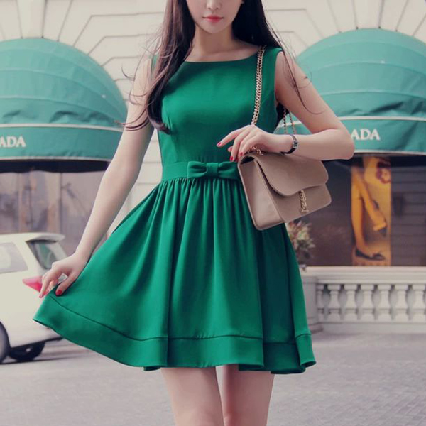 new 2014 spring girls solid chiffon dress Lovely fashion thin casual dress Bow Belt sexy