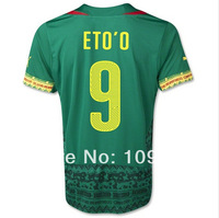 New arrival top Thailand Quality 2014 world cup Cameroon home/green/away/yellow #9 ETO'O soccer Football jersey Football shirt