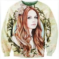 2014 New Women Men Flowers long hair girl print Pullover funny 3D Sweatshirts floral Hoodies jacket Galaxy sweaters coat Tops