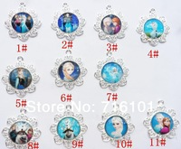 Newest!Mix 11PCS/lot Frozen Movie Character Glass+Alloy Pendant for Fashion DIY necklace Jewelry!