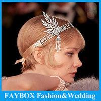 The Great Gatsby  Austria Crystal Bridal Bridesmaids Flower Ivory Pearl Ribbon Wedding Hair Tiara Headband jewelry Crown