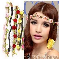 2014 New Bohemian Hair Styling Tools Hair Accessories,Seaside Sandbeach Headbands, Colorful Flowers Chain Hairbands Wholesale