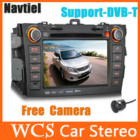 7inch 2DIN Car DVD Player Special For Corolla 2007-2010,WithGPS Navitel//AM/FM/USB/SD,Support DVB-T Car Radio Stereo+Free Camera