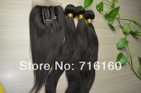 (4pcs lot)peruvian silk base closure with bundles,6A unprocessed peruvian virgin hair 3bundles with 3 part silk closure straight