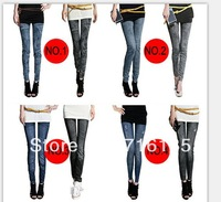 Wholesale 200PCS/Lot Free shipping Womens Punk Skinny Jeans Denim Look Legging jeans Pants 7 style for your choice