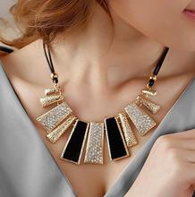 New Style Vintage Black Rope Irregular Geometric Figure  Short  Rhinestone Necklace Design XL419(China (Mainland))
