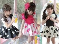 Summer Korean Girl Dress  Children's Plum Blossom Flower Dresses 2-7Year Baby Kids Princess Dress GX136