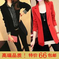 2014 spring blazer slim female suit medium-long one button shoulder pads outerwear top female