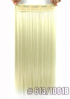 long straight women ladies hair clip in  apply hair synthetics Hair Extensions for women easy to choose 100g  white