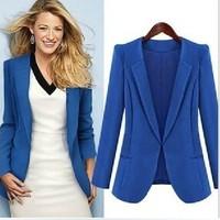 Women's female blazer outerwear 2014 normic fashion plus size mm spring pads suit