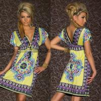 new 2014 Fashion Retro Vintage Paisley Print V Neck Hippie Boho Summer Dress Women Beach Dress SYY0675