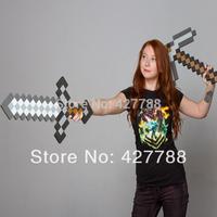 100Pcs=50Pcs Sword+50Pcs Pickaxe Wholesale Diamond Sword Minecraft Foam Mosaic Sword/Pickaxe/Hammer Free Shipping By Fedex EMS