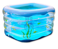 Baby Kids Safety Inflatable Swimming Bath Pool with Foot Air Pump Blue Clear