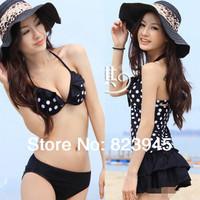 Promotion !! new 2014 Fashion print dot women swimwear 3 pcs tankini set   free-shipping