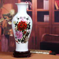 Sure lusterware eggshell porcelain famille rose vase fish tail bottle peony red peony modern brief