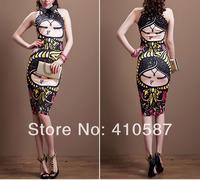2014 new fashion women summer  vintage doll head  print strapless T-shirt + long skirt suit dress women clothing set