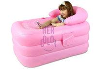 Portable Spa PVC folding bathtub inflatable bath tub w/ Electric Air Pump Pink