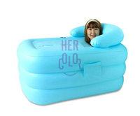 Portable Spa PVC folding bathtub inflatable bath tub w/ Electric Air Pump Blue