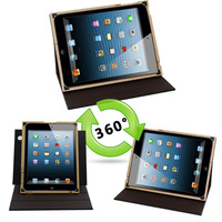 Hot sale!The case cover for ipad 3 2 4 real wood gorgeous hand applied bonded leathers and book bindery cloth 360 degree stand