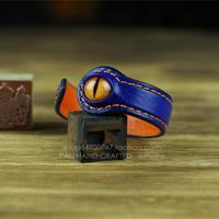 Original design handmade cowhide patchwork lizard skin artificial eye bracelet