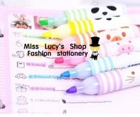 Free ship 1lot=5sets/Korean stationery kawaii cute Farm fragrance fluorescent pen cute cartoon mini marker pen six color suits