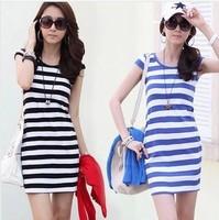 Women one-piece dress 2014 striped slim hip women summer dress