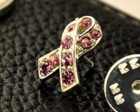 Free Shipping!! 10pcs/lot light Pink rhinestone Breast Cancer Pink Ribbon Pin sliver Plating  Pins Hot selling