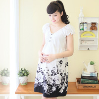 2014 spring and summer maternity clothing ink print short-sleeve V-neck maternity dress one-piece cotton maternity dress