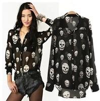 Women fashion tops new 2014 summer chiffon shirt women blouses long sleeve skeleton print sexy transparent ladies blouse