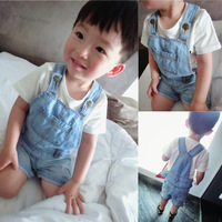 Luson 2014 summer baby infant children's clothing water wash denim shorts suspenders open file