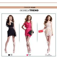 Fashion New Spring Summer 2014 Women Sexy Dress Club Evening Party dress One-Piece Oblique Fold Slim Dresses