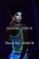 DHL free shipping Led luminous clothes woman crop top women ballroom sexy dancing sun-top women luminous dress