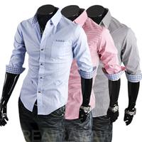 2014 Summer Color Block Plaid Male Casual Stripe Half Sleeve Shirts