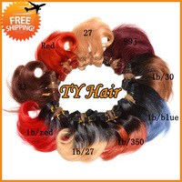 Ombre Hair Extensions Body Wave 18pcs Lot 100% Human Hair Weave Ombre Brazilian Hair Weft Two Tone Colored Queen Hair Products